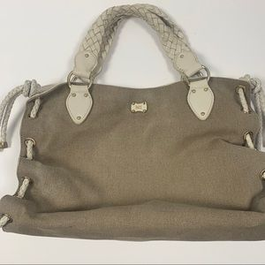 MICHAEL KORS TAUPE CANVAS AND CREAM LEATHER PURSE